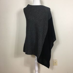 Celeste Black and Grey Wool/ Cashmere Blend Poncho